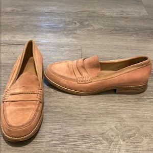 Dusty pink penny loafers